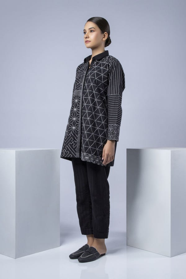 Handwoven Black Embroidered Top