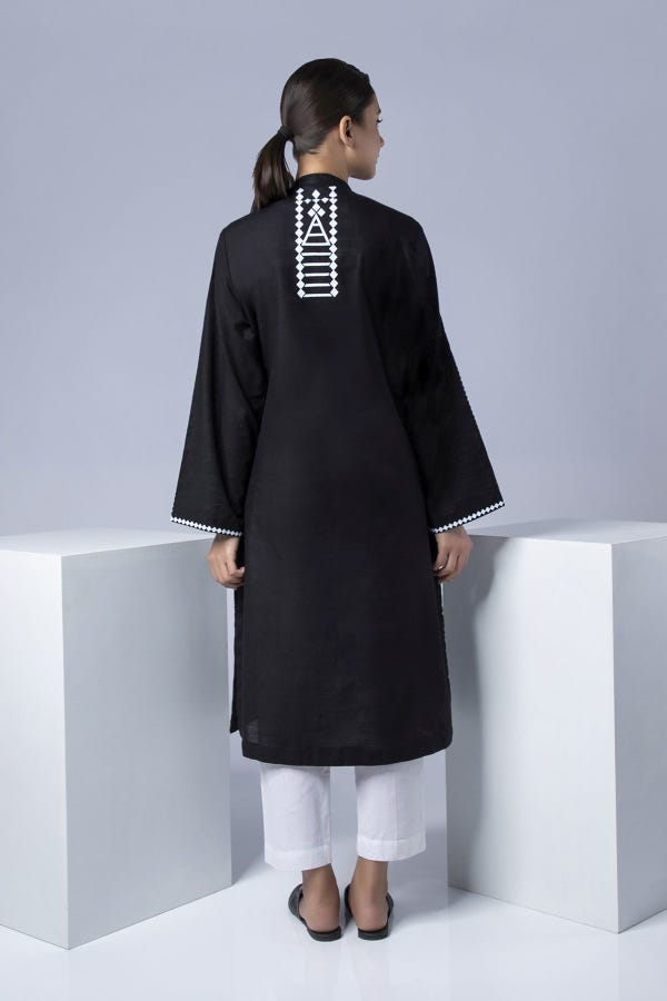 Black Screen-Printed Kurta