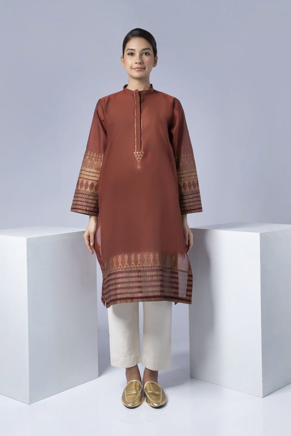 Rust Block Printed Kurta