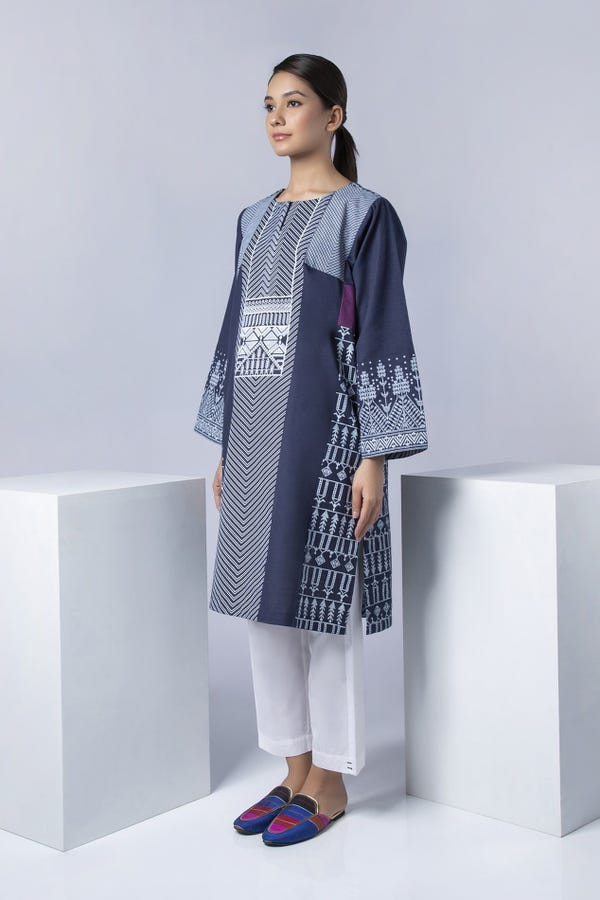 Navy Blue Screen-Printed Kurta