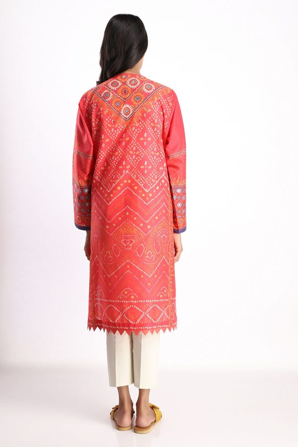 Print Embroidered Kurta